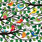 Colorful birds in the forest by grafart