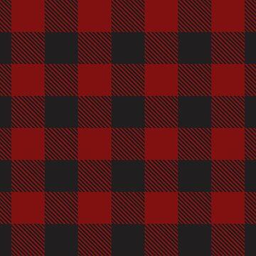 Buffalo Plaid Red and Black Chirstmas Tshirt by Tetete