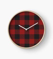 Buffalo Plaid Red and Black Chirstmas Tshirt Clock