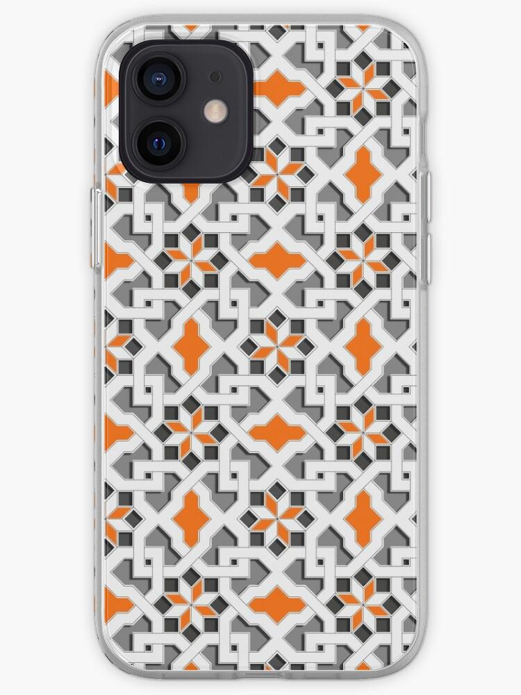 noir, blanc, gris, orange - Motif oriental - Motif orient - Mosaïque géométrique style arabe   Coque iPhone