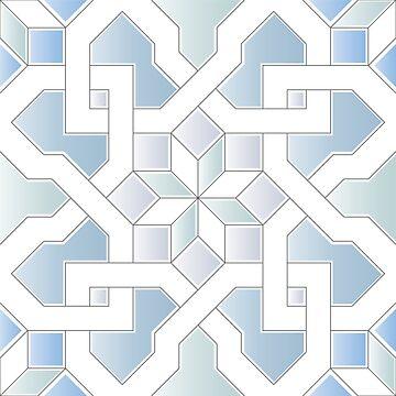 Oriental Pattern - Oriental Design - grey, blue by ohaniki