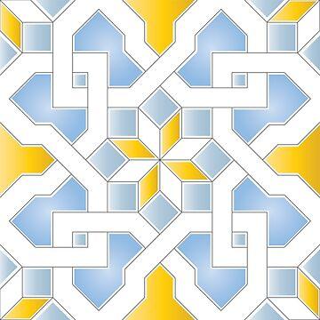 Oriental Pattern - Oriental Design  - yellow, blue by ohaniki
