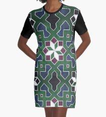 Oriental tile pattern - green, blue Graphic T-Shirt Dress
