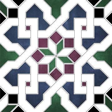 Oriental tile pattern - blue, green by ohaniki