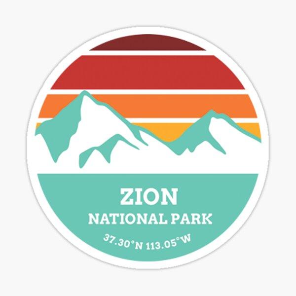 Zion National Park Retro Mountain Sticker Sticker