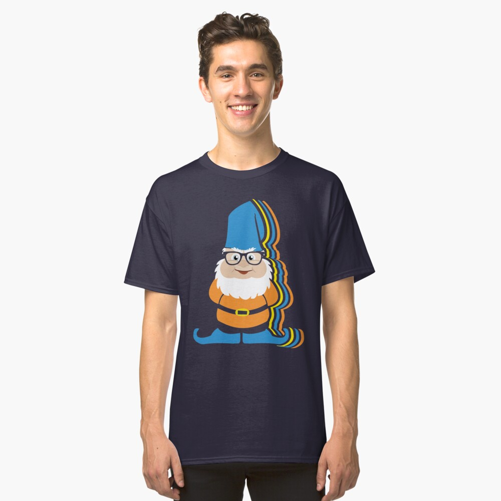 Funky Hipster Garden Gnome Illustration Classic T-Shirt Front