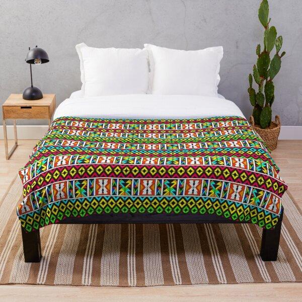 African Tribal - Ndebele Tribe Tribal Pattern Throw Blanket