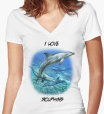 SPOTTED BOTTLENOSE DOLPHIN A Women's Fitted V-Neck T-Shirt