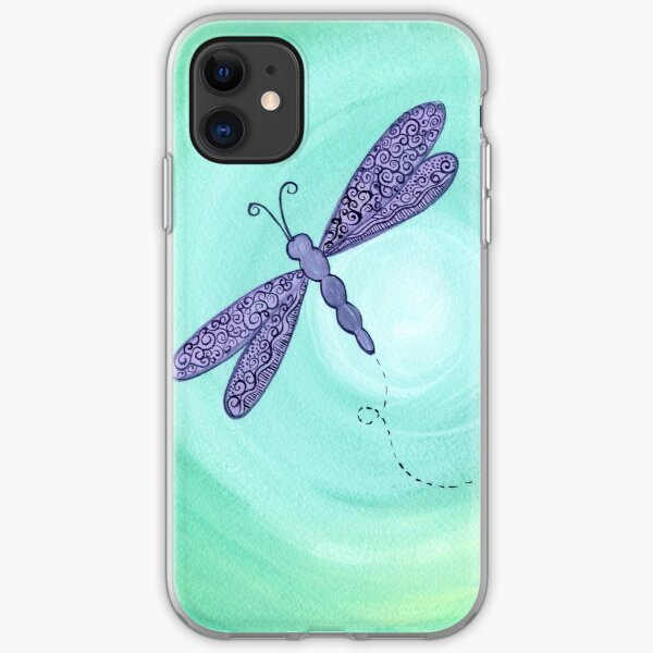 purple dragonfly iPhone Soft Case