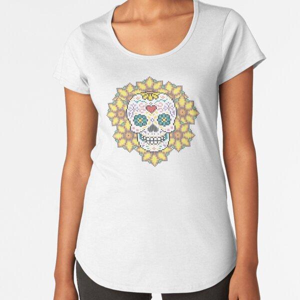 Catrina with flowers Camiseta premium de cuello ancho