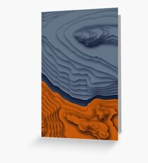 Blue/Orange Topographical Contour Map Pattern Greeting Card