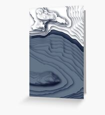 Blue Ice Topographical Contour Map Pattern Greeting Card
