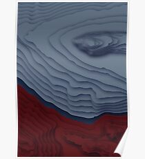 Red/Blue Topographical Contour Map Pattern Poster