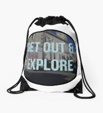 get out & explore Drawstring Bag