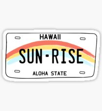 Hawaii Sun Rise Nummernschild Glänzender Sticker