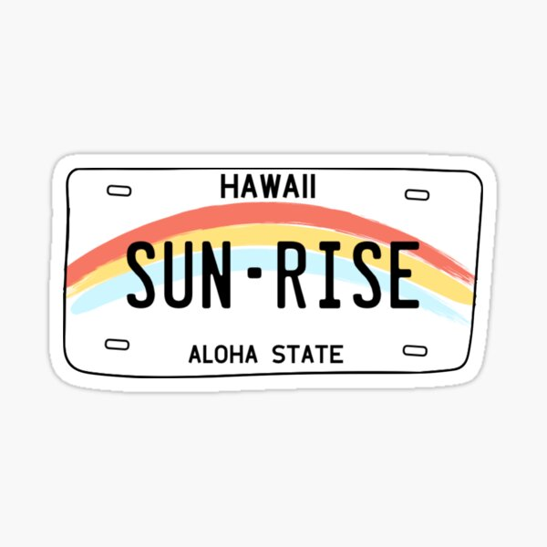 Hawaii Sun Rise License Plate Pegatina