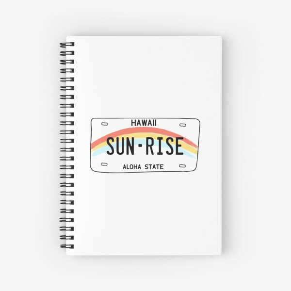 Hawaii Sun Rise License Plate Spiral Notebook