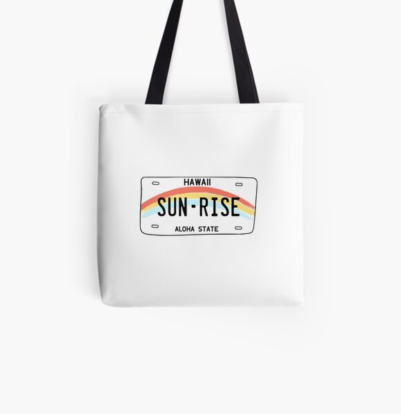 Hawaii Sun Rise License Plate All Over Print Tote Bag