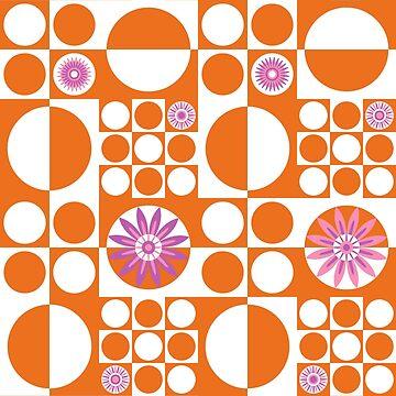 Mod Flower Power - Orange White by wickedrefined