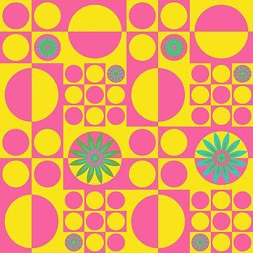 Mod Flower Power - Yellow Pink  by wickedrefined