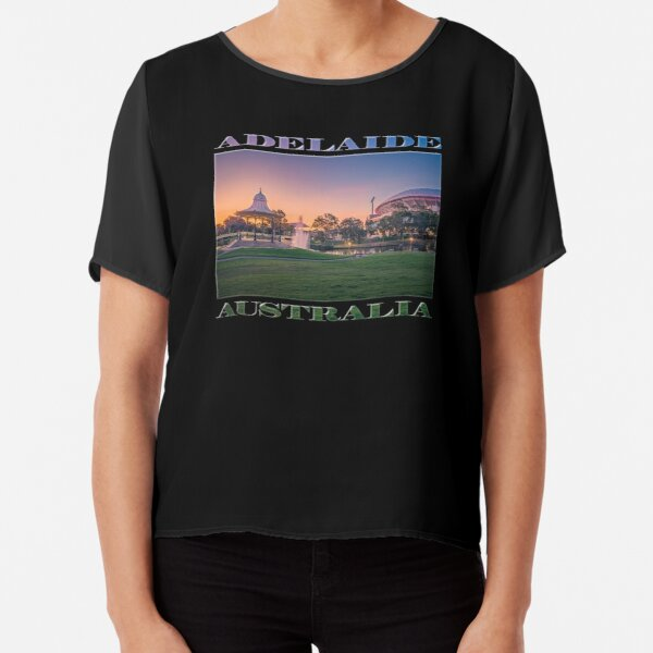 Adelaide Sunset (poster on black) Chiffon Top