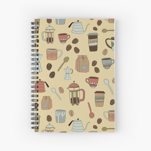 Coffee Lover Pattern Spiral Notebook