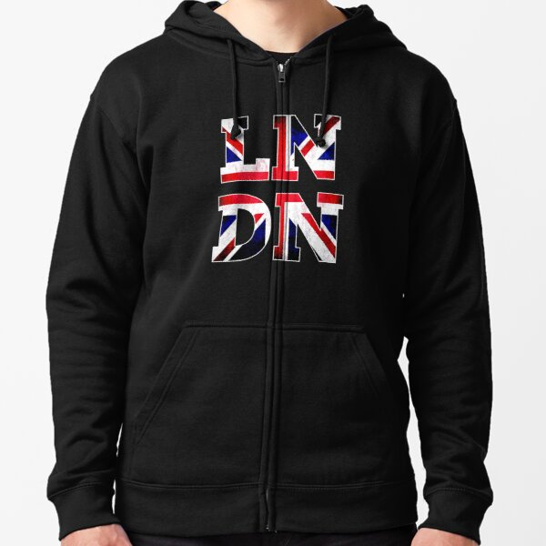 UK Flag London Souvenir Gift Zipped Hoodie