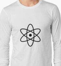 #atom #science #symbol #abstract #3d #atomic #isolated #sphere #nuclear #molecule #blue #illustration #physics #chemistry #technology #molecular #orbit #electron #energy #circle #icon #sign #white Long Sleeve T-Shirt