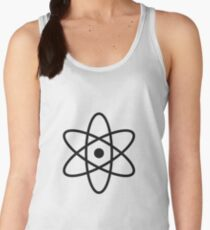 #atom #science #symbol #abstract #3d #atomic #isolated #sphere #nuclear #molecule #blue #illustration #physics #chemistry #technology #molecular #orbit #electron #energy #circle #icon #sign #white Women's Tank Top