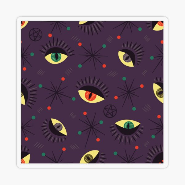 Reptile witch eyes retro pattern  Transparent Sticker