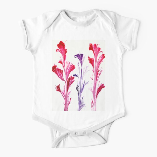 Painted Flowers Short Sleeve Baby One-Piece