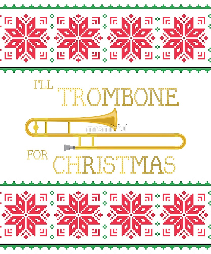 Trombone Ugly Christmas Sweater Marching Band Christmas Sweater Gift ...