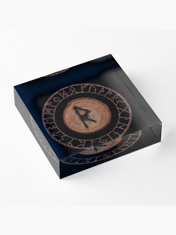 Alternate view of Raidho Elder Futhark Rune Travel, journey, vacation, relocation, evolution, change of place Seeing a larger perspective. Seeing the right move Personal rhythm, world rhythm, dance of life. Acrylic Block