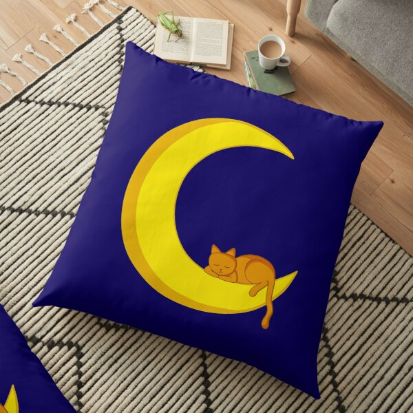 Cat Sleeping on the Moon Floor Pillow