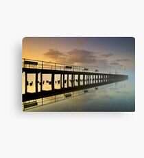 Pooley Bridge Pier in Morning Mist Canvas Print