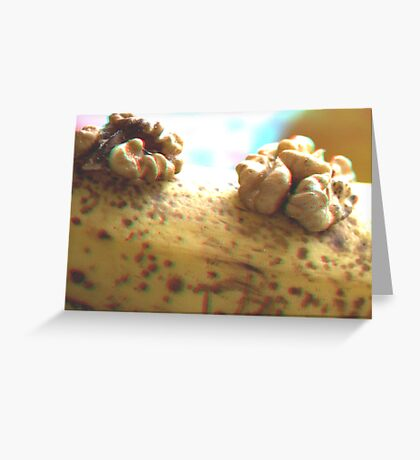 [3d Anaglyph]  Nut on banana Greeting Card