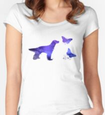 English Setter and Butterflies Women's Fitted Scoop T-Shirt