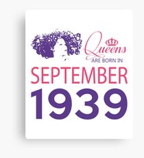 It's My Birthday 79. Made In September 1939. 1939 Gift Ideas. Canvas Print