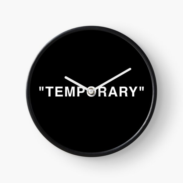 """Temporary"" Quotation Marks White Clock"