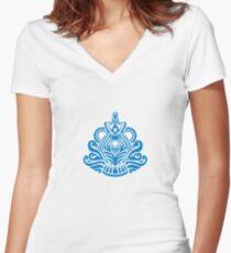 Zodiac Sign Aquarius Blue Women's Fitted V-Neck T-Shirt