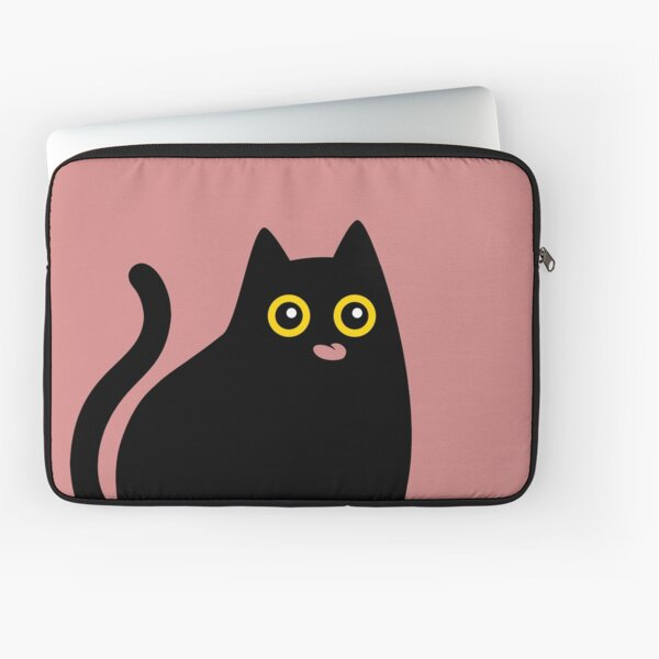 Black cat with tongue out Laptop Sleeve