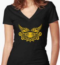 Zodiac Sign Cancer Gold Women's Fitted V-Neck T-Shirt