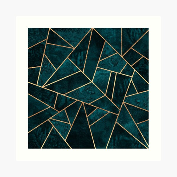 Pierre turquoise profonde Impression artistique