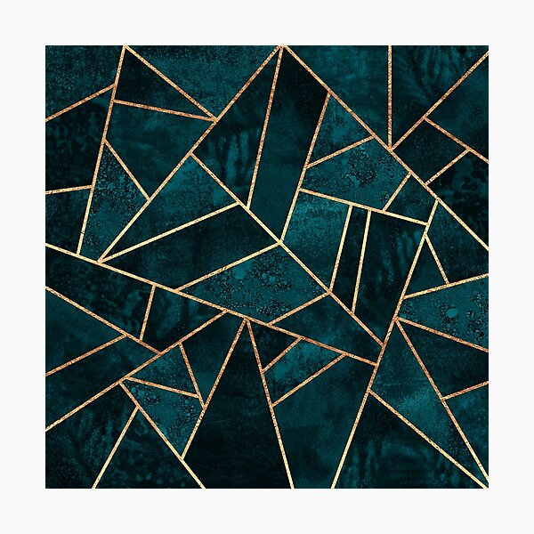 Deep Teal Stone Photographic Print