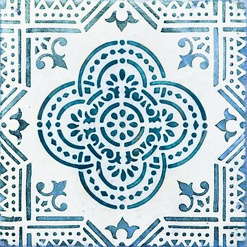 Blue portugal tile with dots by creaschon