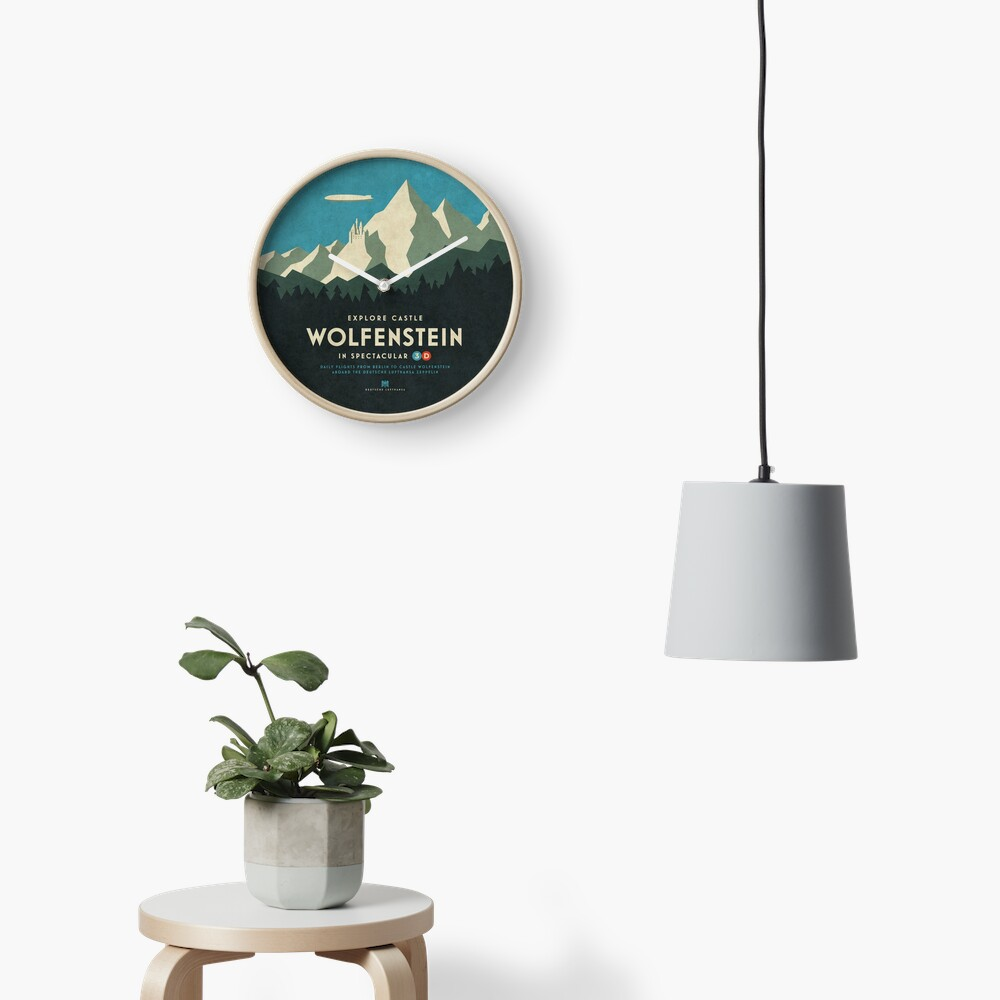 Castle Wolfenstein Vintage Tourism - 3D Blue Clock