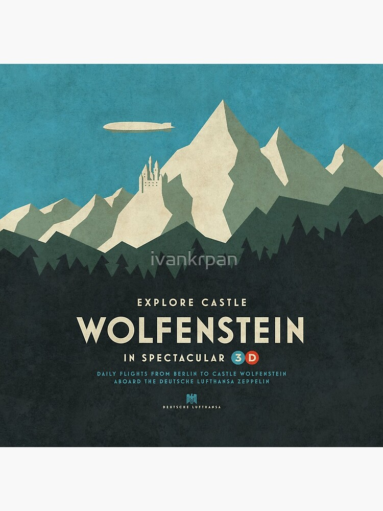 Castle Wolfenstein Vintage Tourism - 3D Blue by ivankrpan