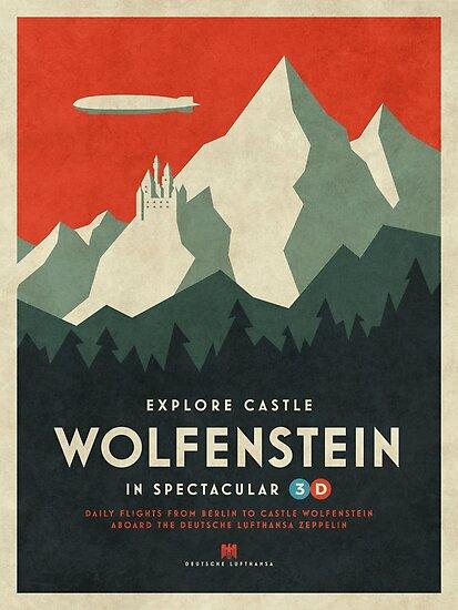 Schloss Wolfenstein Vintage Tourism - Grenze 3D Rot von ivankrpan
