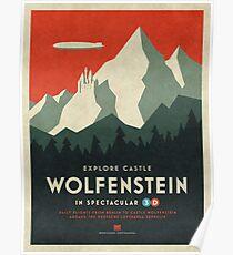 Castle Wolfenstein Vintage Tourism - Border 3D Red Poster