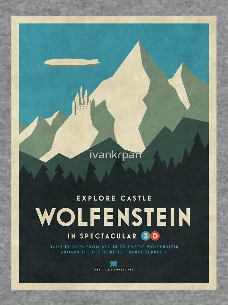 Castillo Wolfenstein Vintage Turismo - Borde 3D Azul de ivankrpan